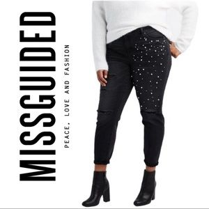Misguided Distressed Black Denim Jeans Pearl Accen